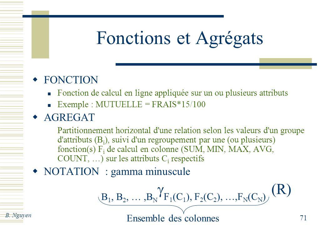 Fonctions et Agrégats g (R) FONCTION AGREGAT