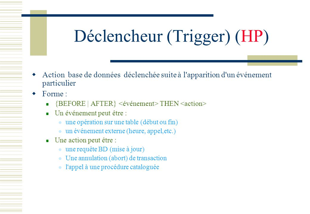 Déclencheur (Trigger) (HP)
