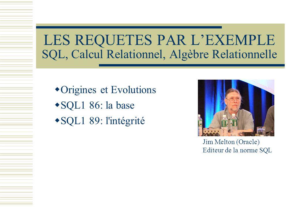Origines et Evolutions SQL1 86: la base SQL1 89: l intégrité