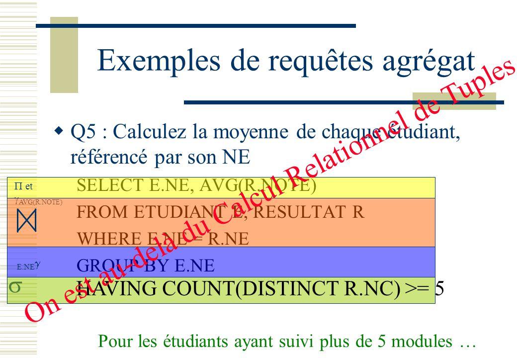 Exemples de requêtes agrégat