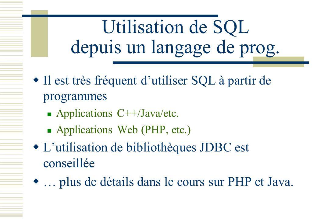 Utilisation de SQL depuis un langage de prog.
