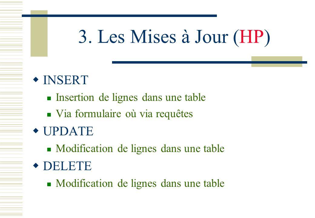 3. Les Mises à Jour (HP) INSERT UPDATE DELETE
