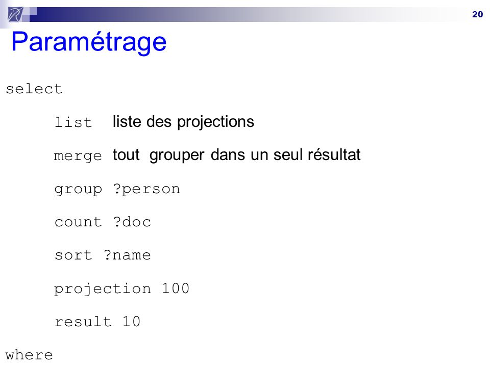 Paramétrage select list liste des projections