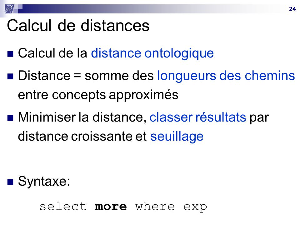 Calcul de distances Calcul de la distance ontologique