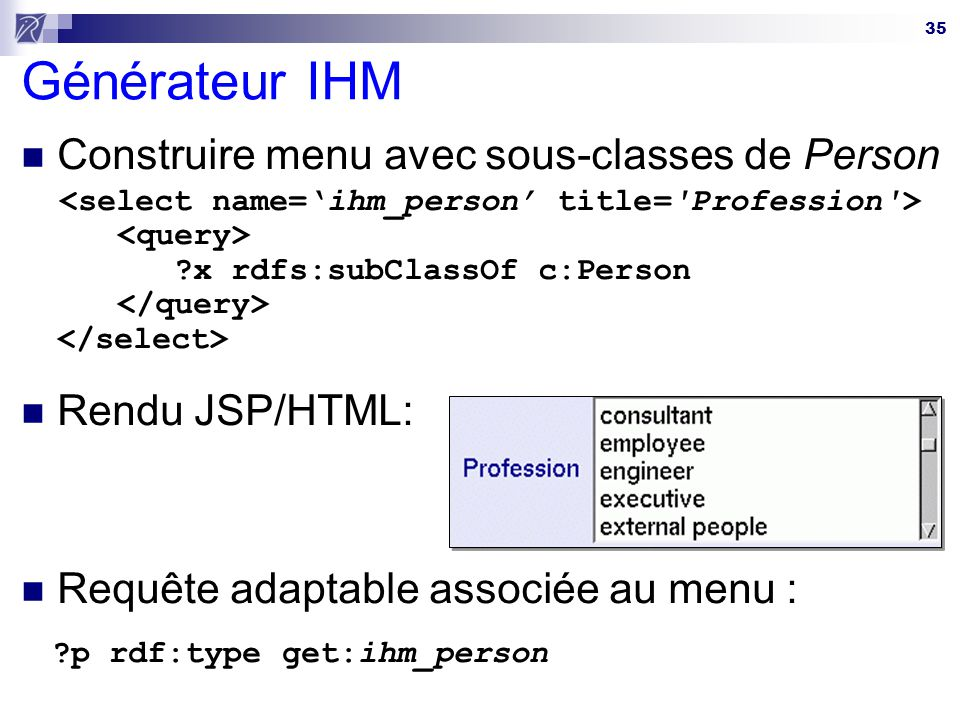 Générateur IHM Construire menu avec sous-classes de Person