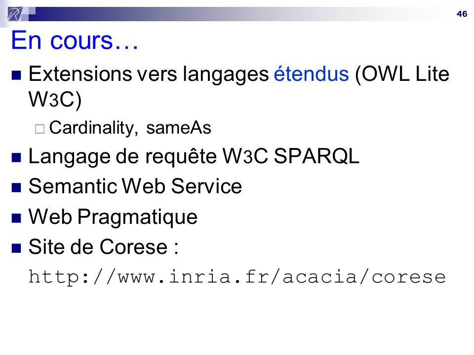 En cours… Extensions vers langages étendus (OWL Lite W3C)