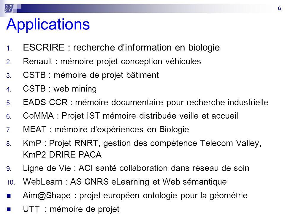 Applications ESCRIRE : recherche d'information en biologie