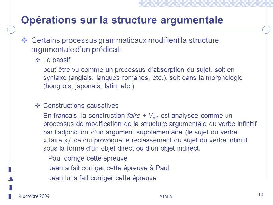 Opérations sur la structure argumentale