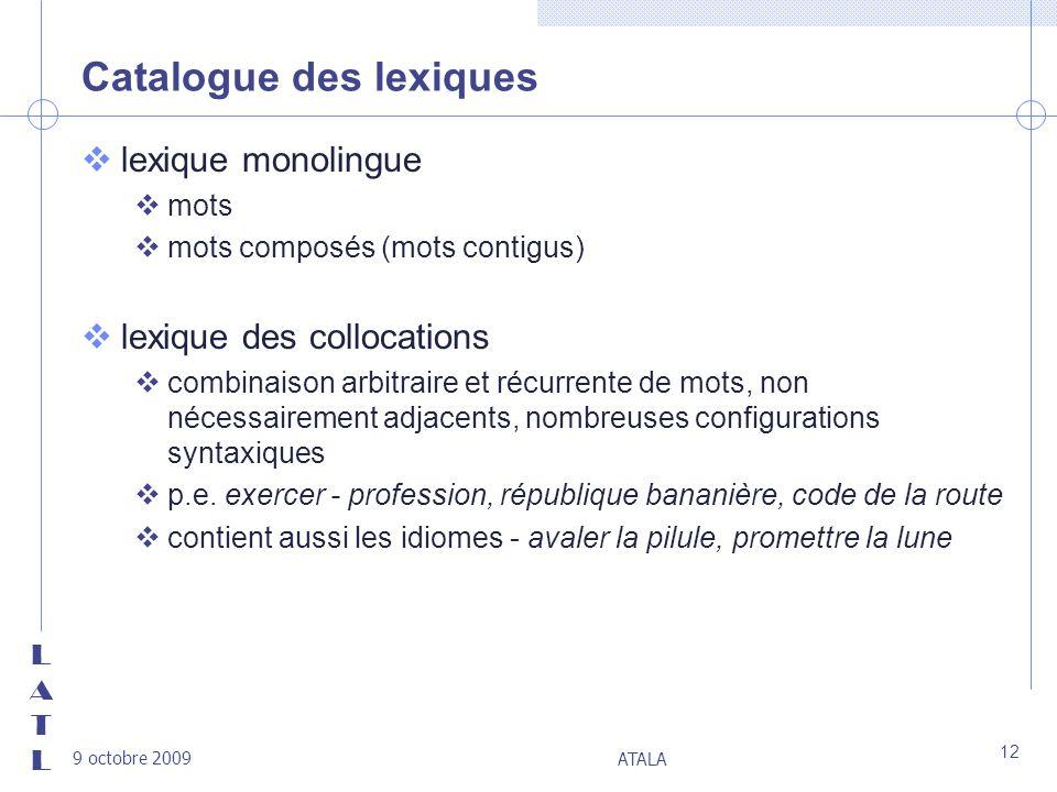 Catalogue des lexiques