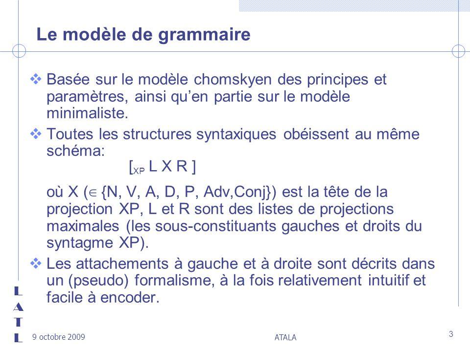 Le modèle de grammaire Basée sur le modèle chomskyen des principes et paramètres, ainsi qu'en partie sur le modèle minimaliste.