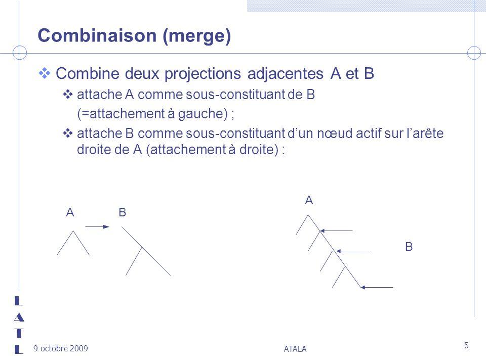 Combinaison (merge) Combine deux projections adjacentes A et B