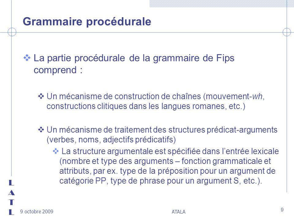 Grammaire procédurale