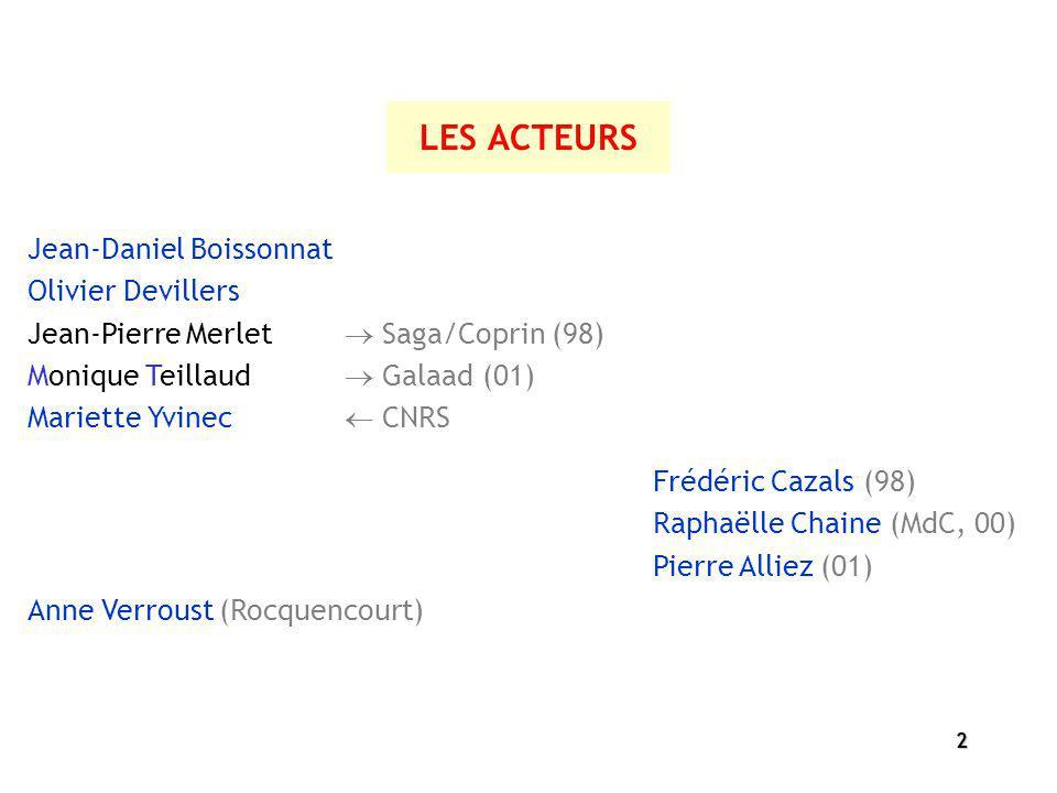 LES ACTEURS Jean-Daniel Boissonnat Olivier Devillers