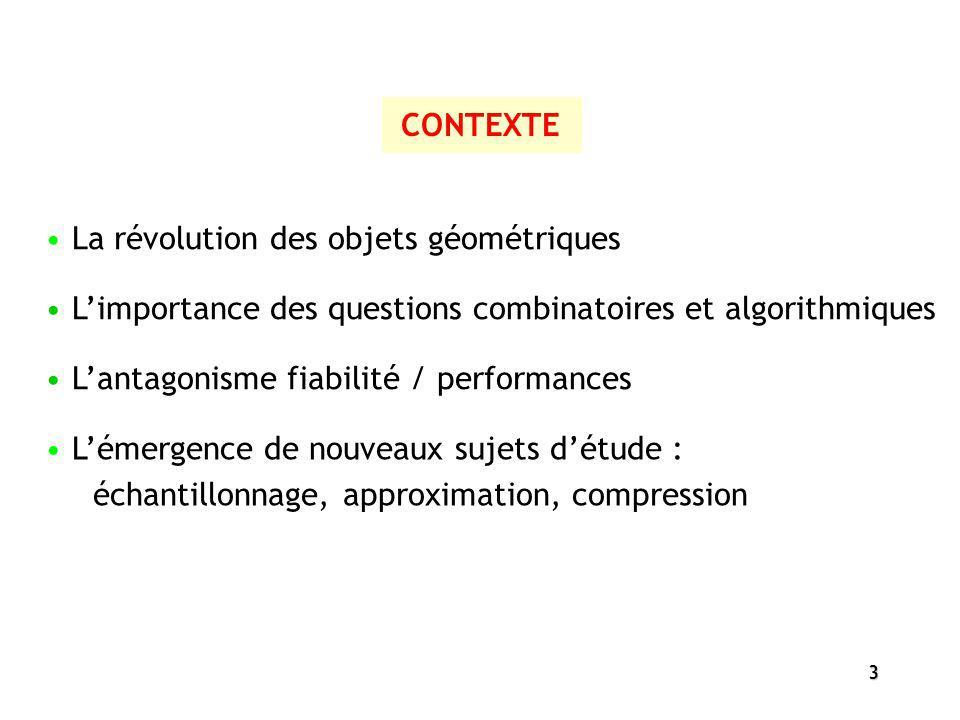 CONTEXTE La révolution des objets géométriques. L'importance des questions combinatoires et algorithmiques.