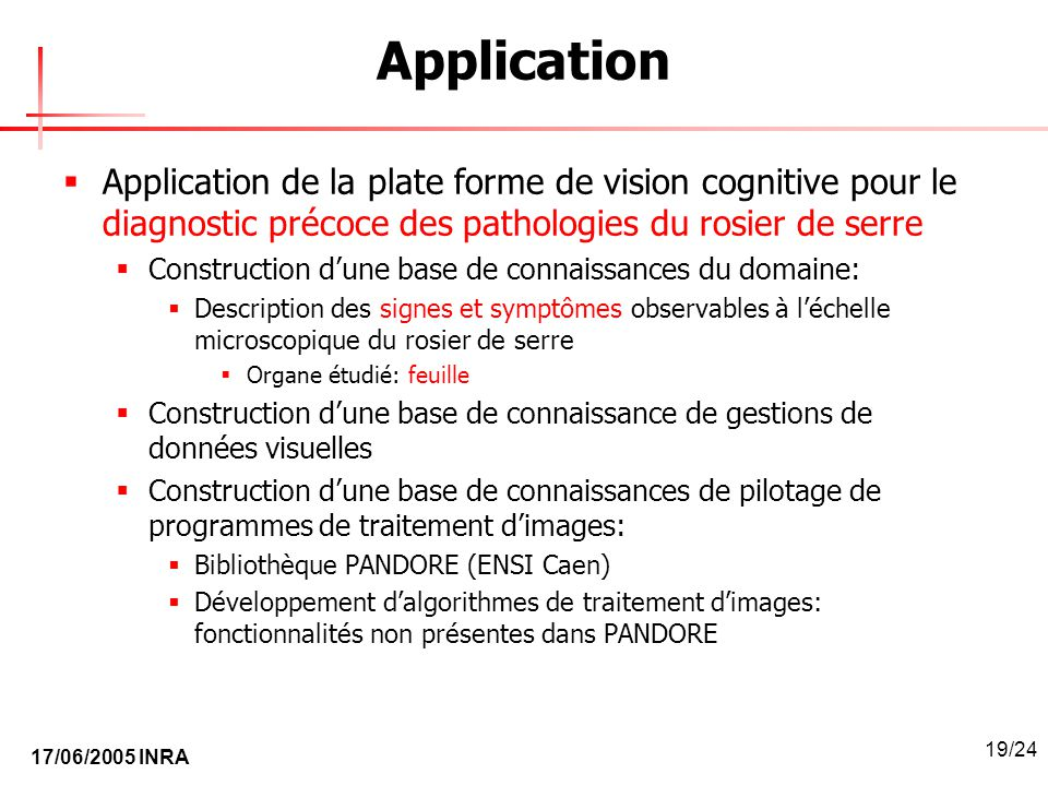 Application Application de la plate forme de vision cognitive pour le diagnostic précoce des pathologies du rosier de serre.