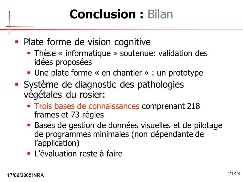 Conclusion : Bilan Plate forme de vision cognitive