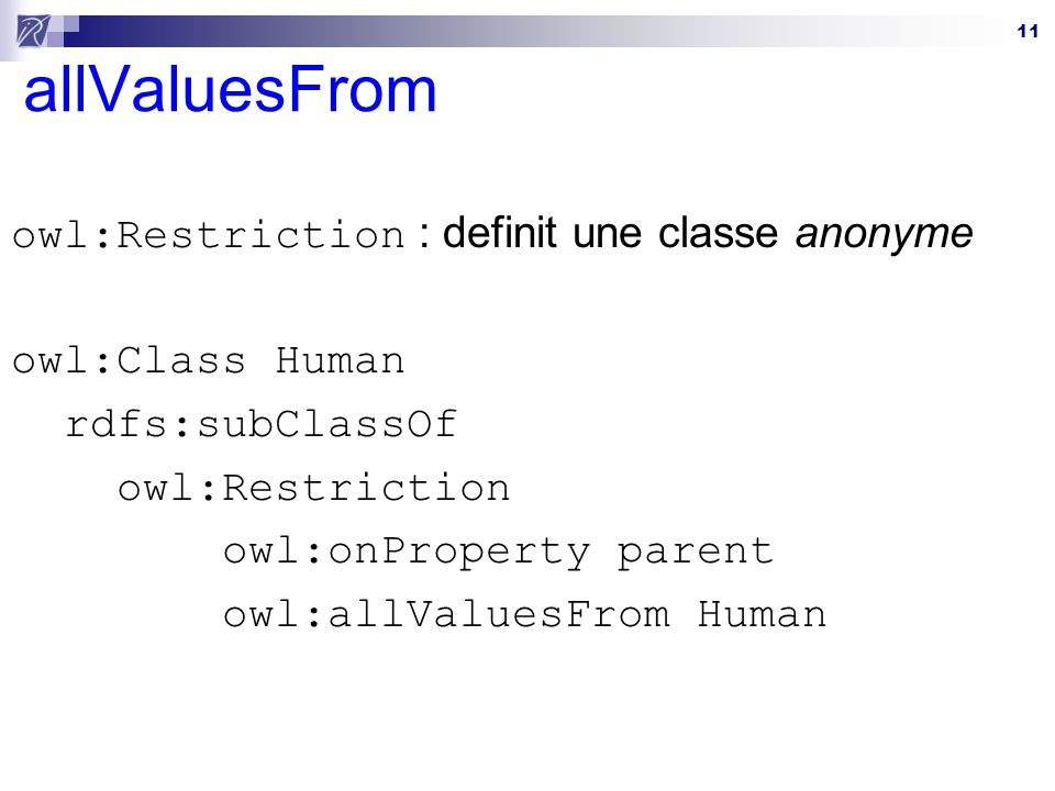 allValuesFrom owl:Restriction : definit une classe anonyme