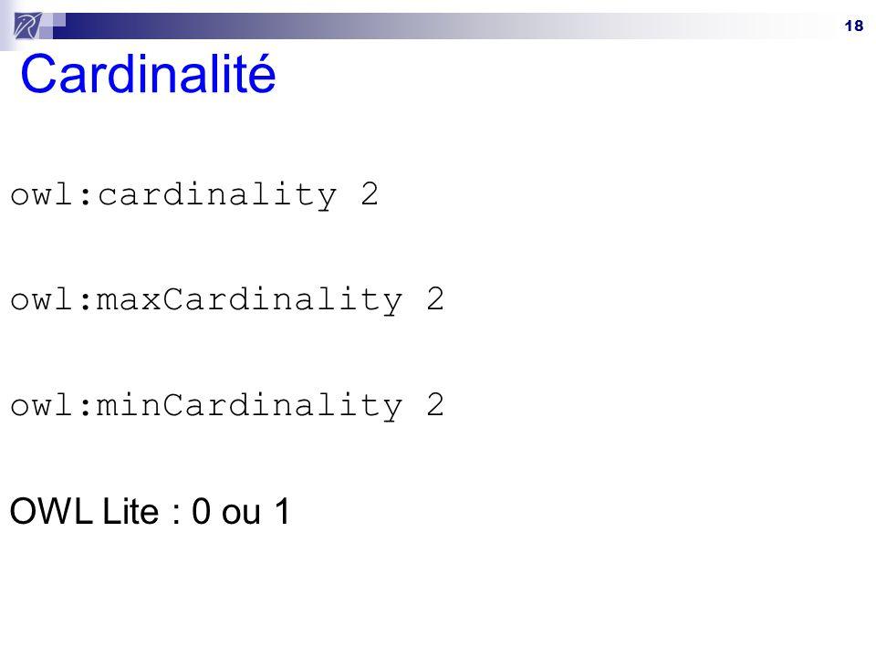Cardinalité owl:cardinality 2 owl:maxCardinality 2