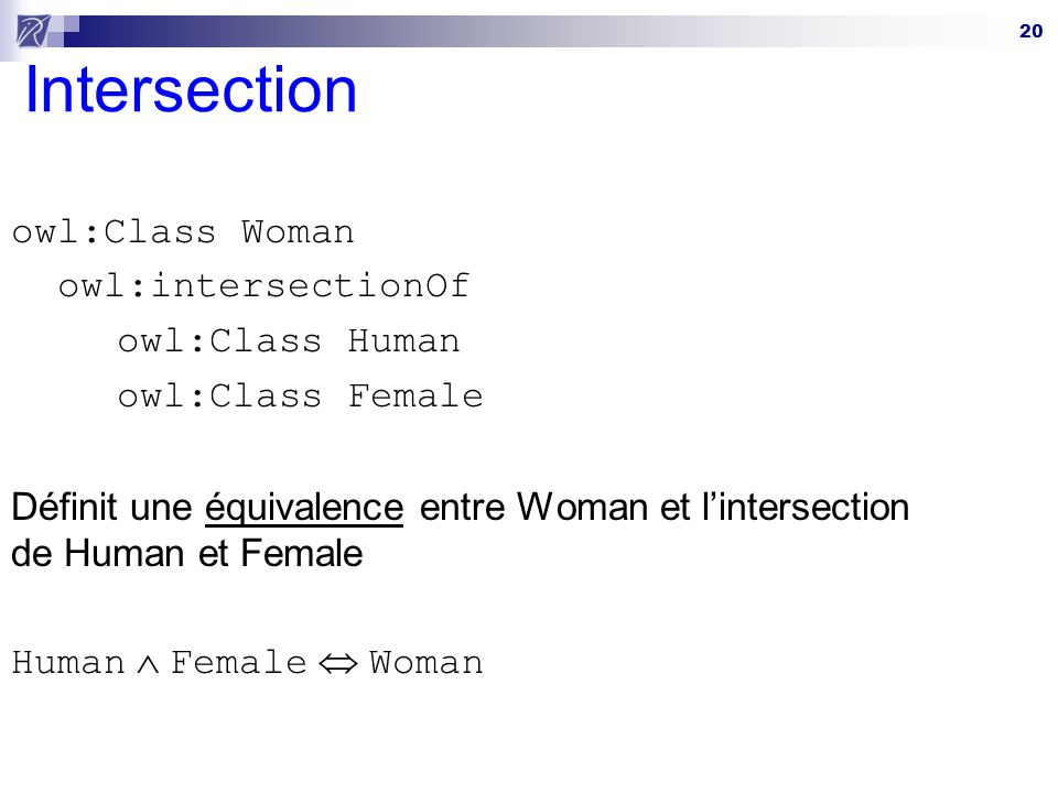 Intersection owl:Class Woman owl:intersectionOf owl:Class Human