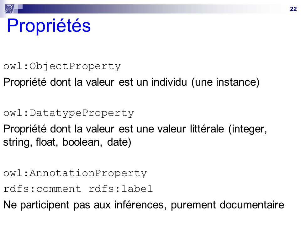 Propriétés owl:ObjectProperty