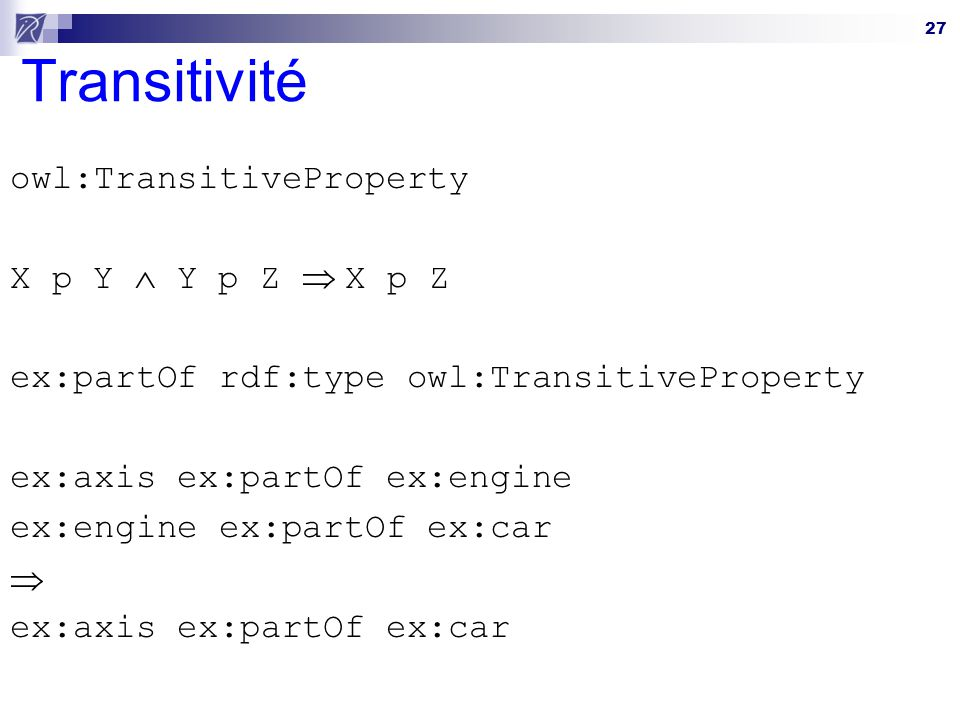 Transitivité owl:TransitiveProperty X p Y  Y p Z  X p Z