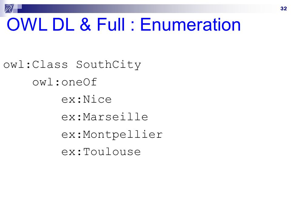 OWL DL & Full : Enumeration