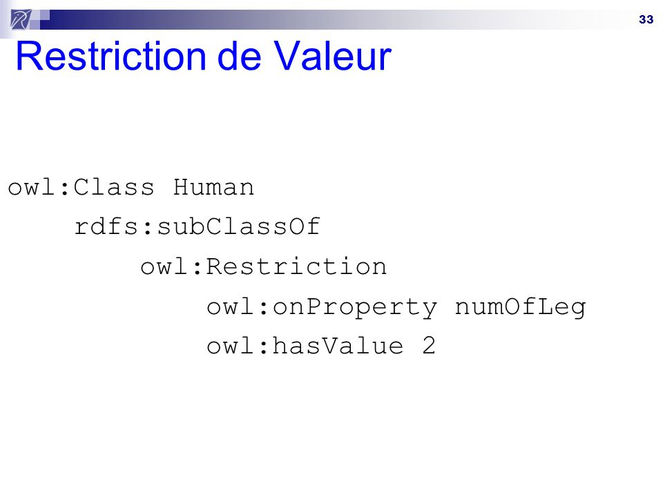 Restriction de Valeur owl:Class Human rdfs:subClassOf owl:Restriction