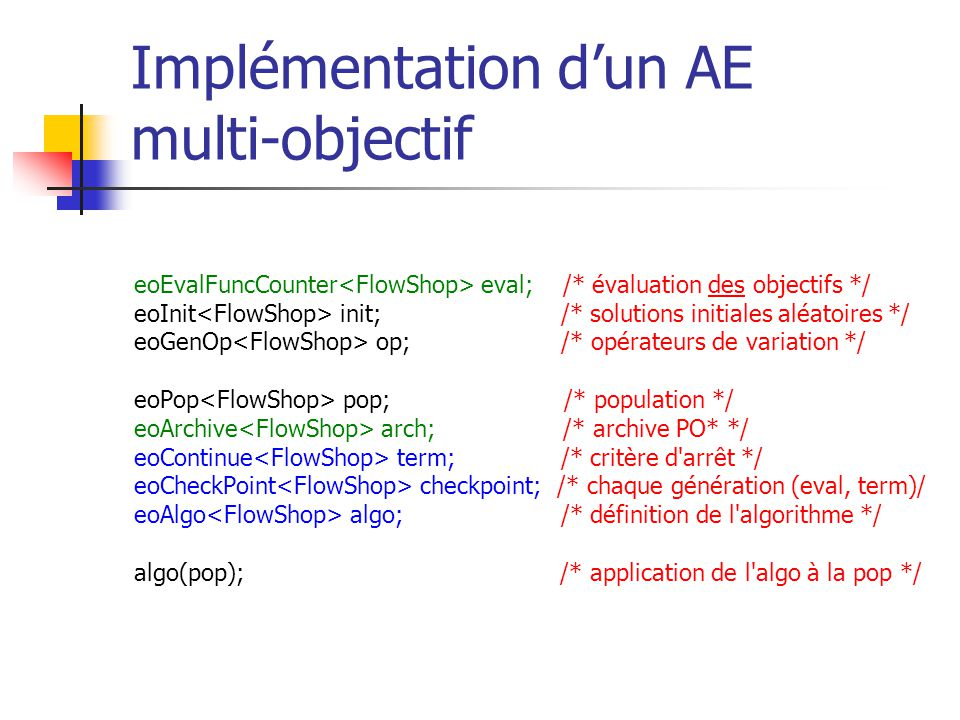 Implémentation d'un AE multi-objectif