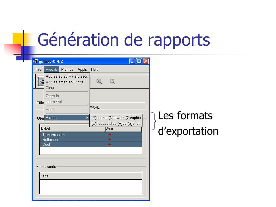 Génération de rapports