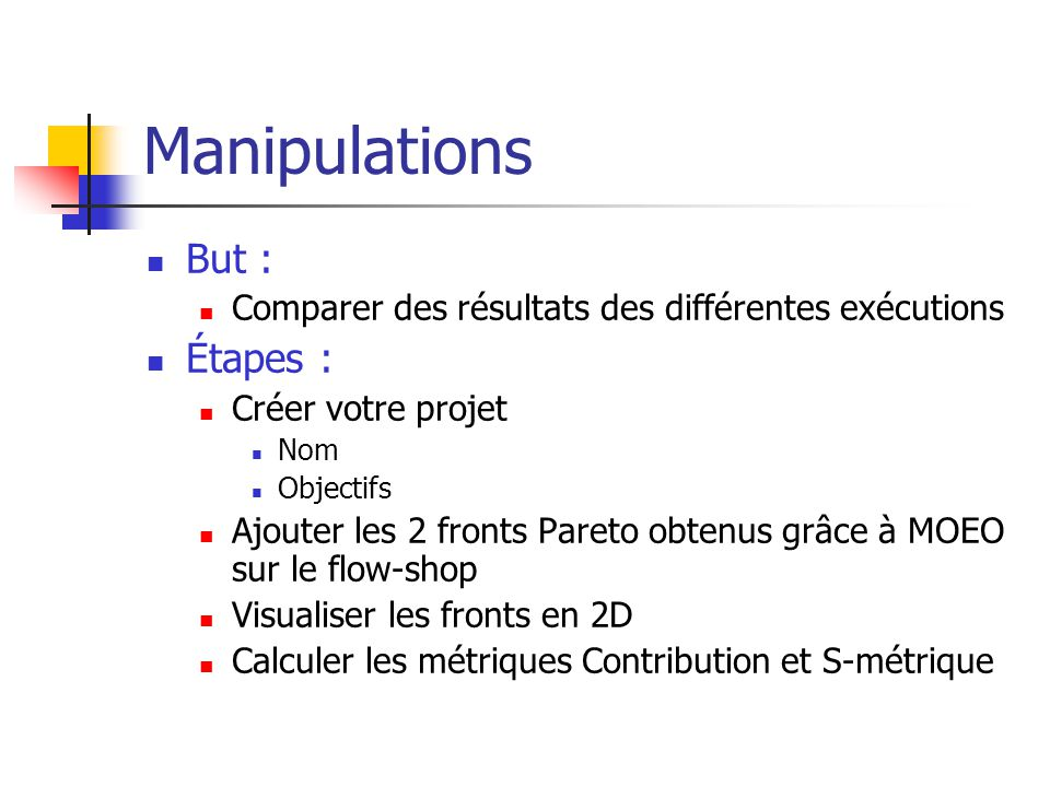 Manipulations But : Étapes :