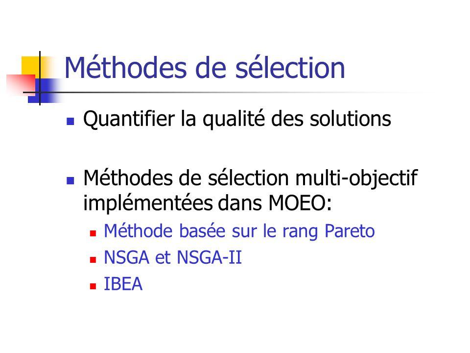 Méthodes de sélection Quantifier la qualité des solutions