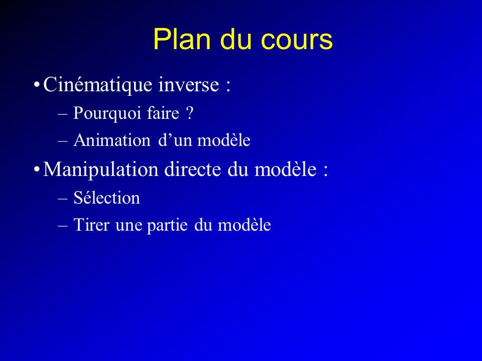 Plan du cours Cinématique inverse : Manipulation directe du modèle :