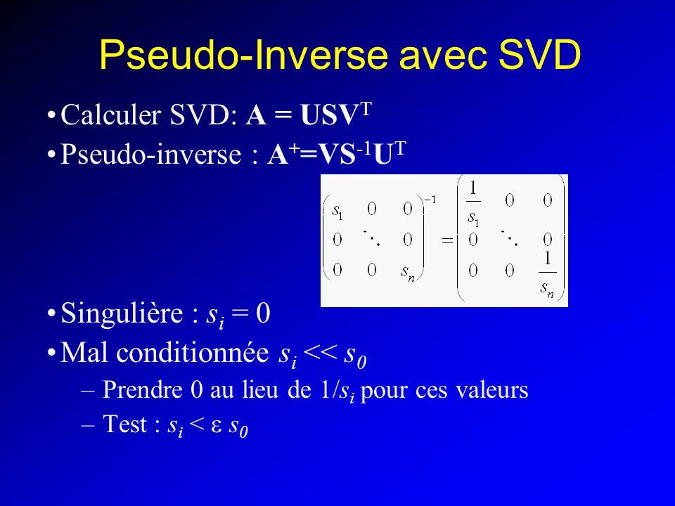 Pseudo-Inverse avec SVD