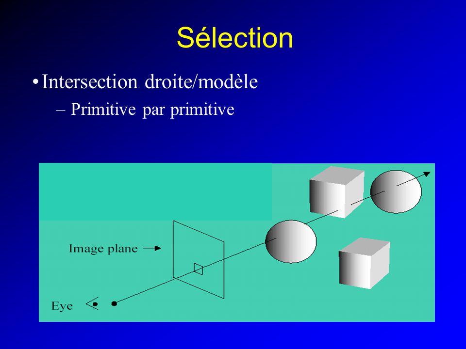 Sélection Intersection droite/modèle Primitive par primitive