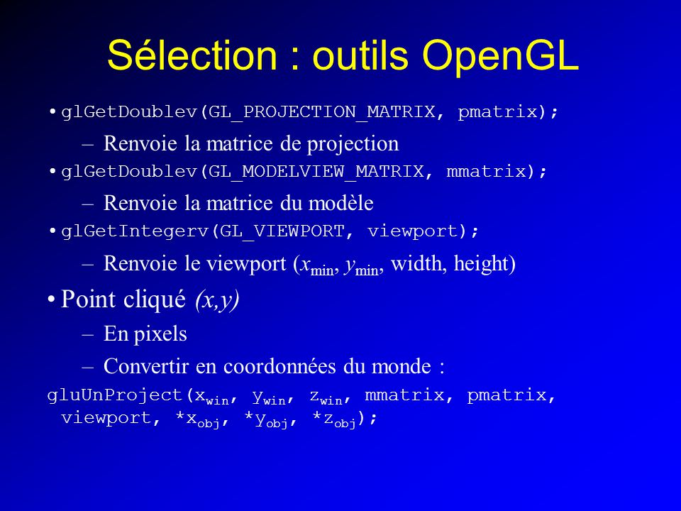 Sélection : outils OpenGL