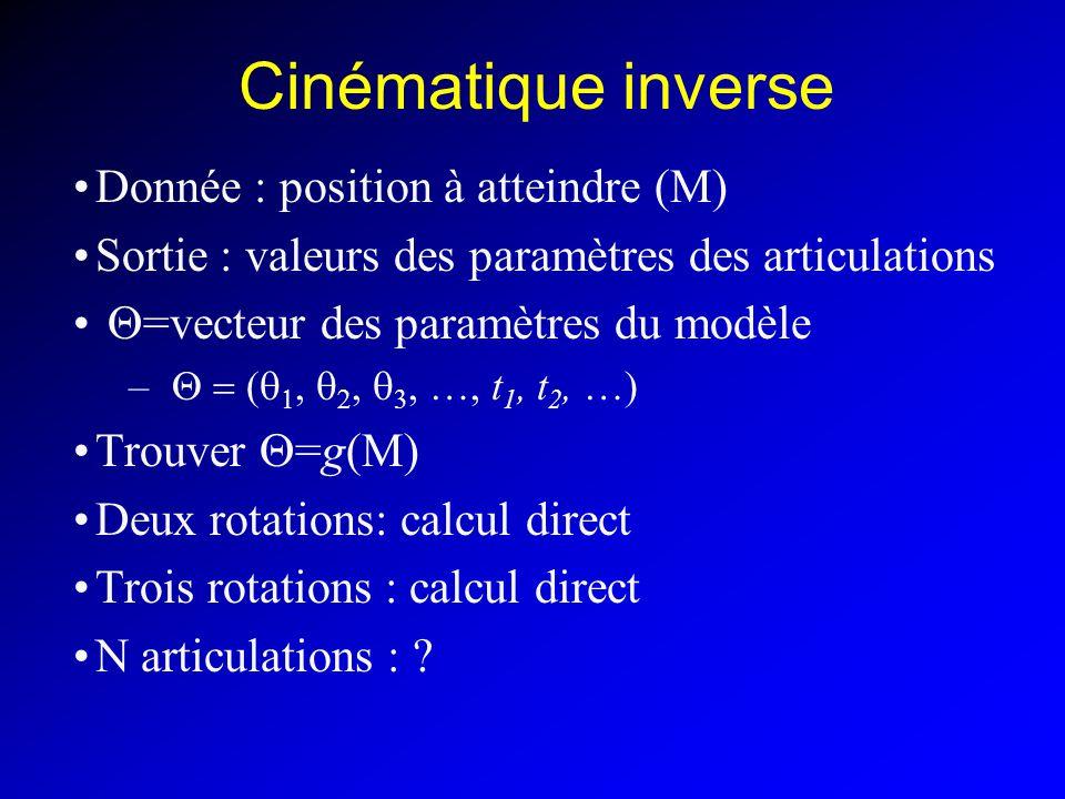 Cinématique inverse Donnée : position à atteindre (M)