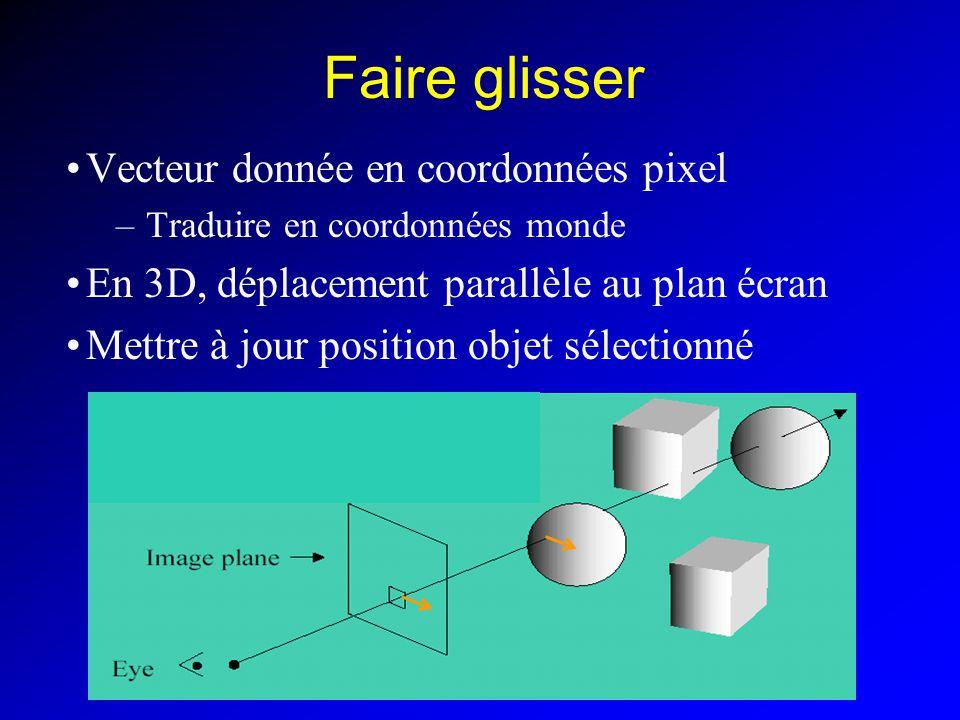 Faire glisser Vecteur donnée en coordonnées pixel