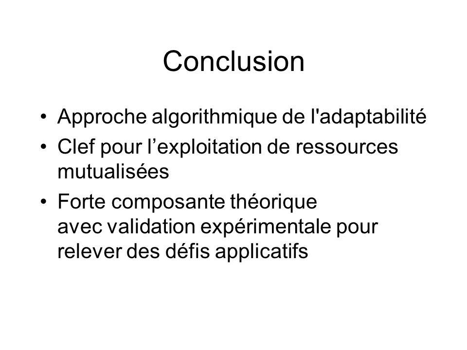 Conclusion Approche algorithmique de l adaptabilité