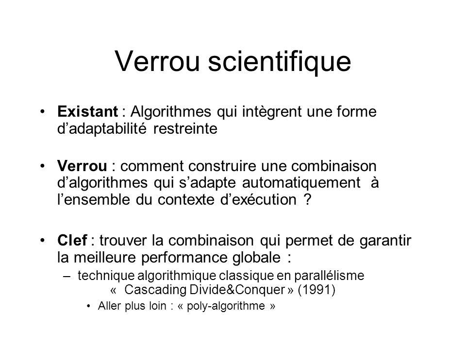 Verrou scientifique Existant : Algorithmes qui intègrent une forme d'adaptabilité restreinte.