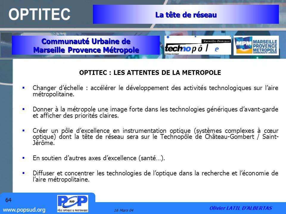 Marseille Provence Métropole OPTITEC : LES ATTENTES DE LA METROPOLE