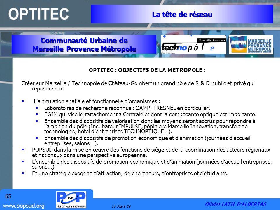 Marseille Provence Métropole OPTITEC : OBJECTIFS DE LA METROPOLE :