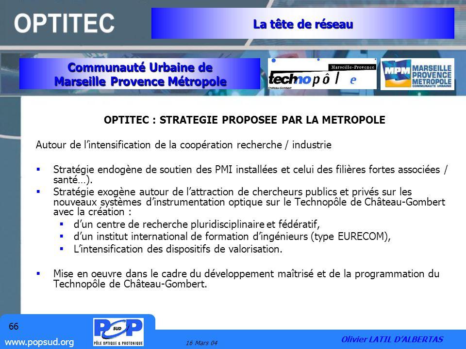 La tête de réseau Communauté Urbaine de Marseille Provence Métropole