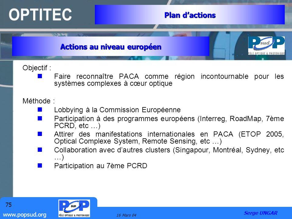 Actions au niveau européen