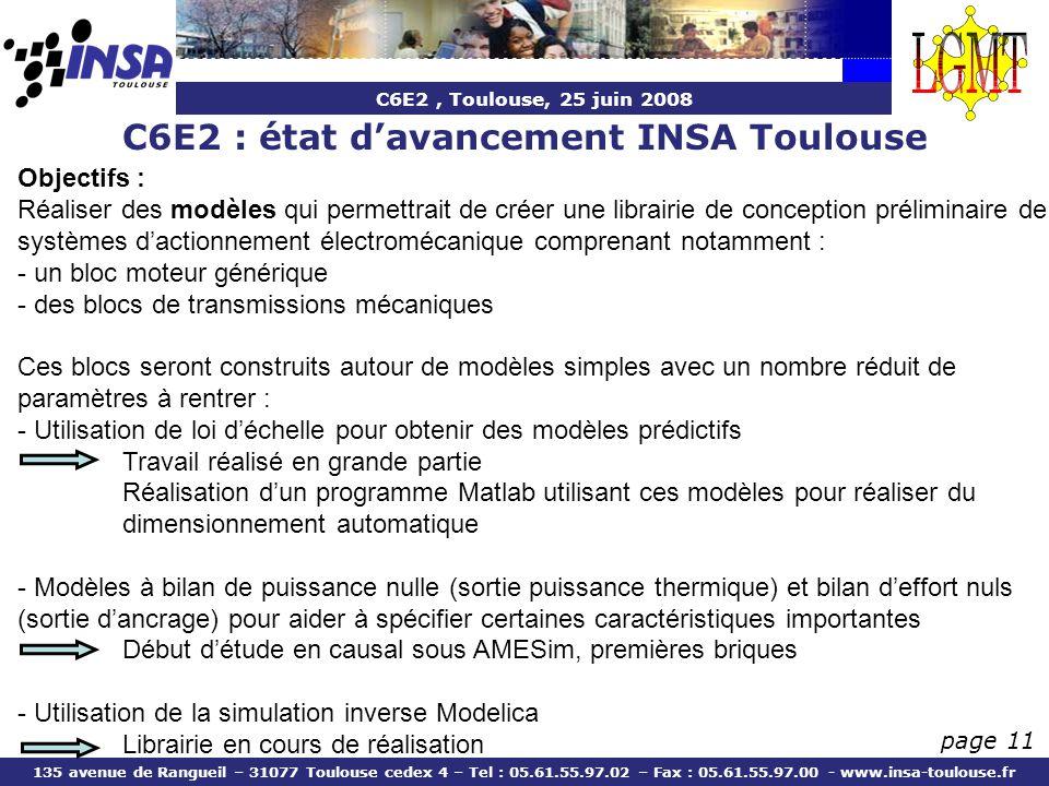 C6E2 : état d'avancement INSA Toulouse