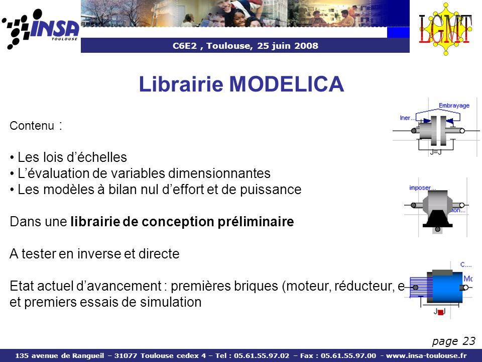 Librairie MODELICA Les lois d'échelles