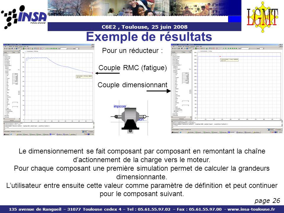 Exemple de résultats Pour un réducteur : Couple RMC (fatigue)