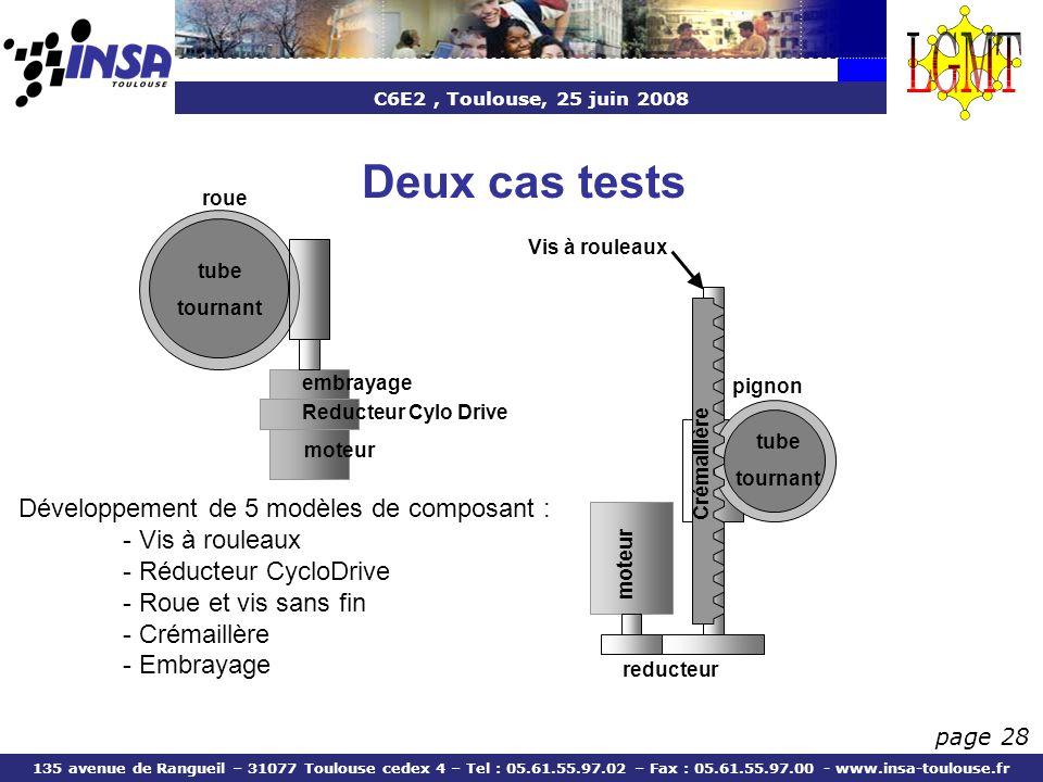 Deux cas tests Développement de 5 modèles de composant :