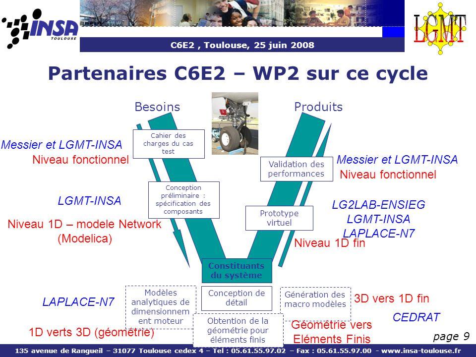 Partenaires C6E2 – WP2 sur ce cycle Constituants du système