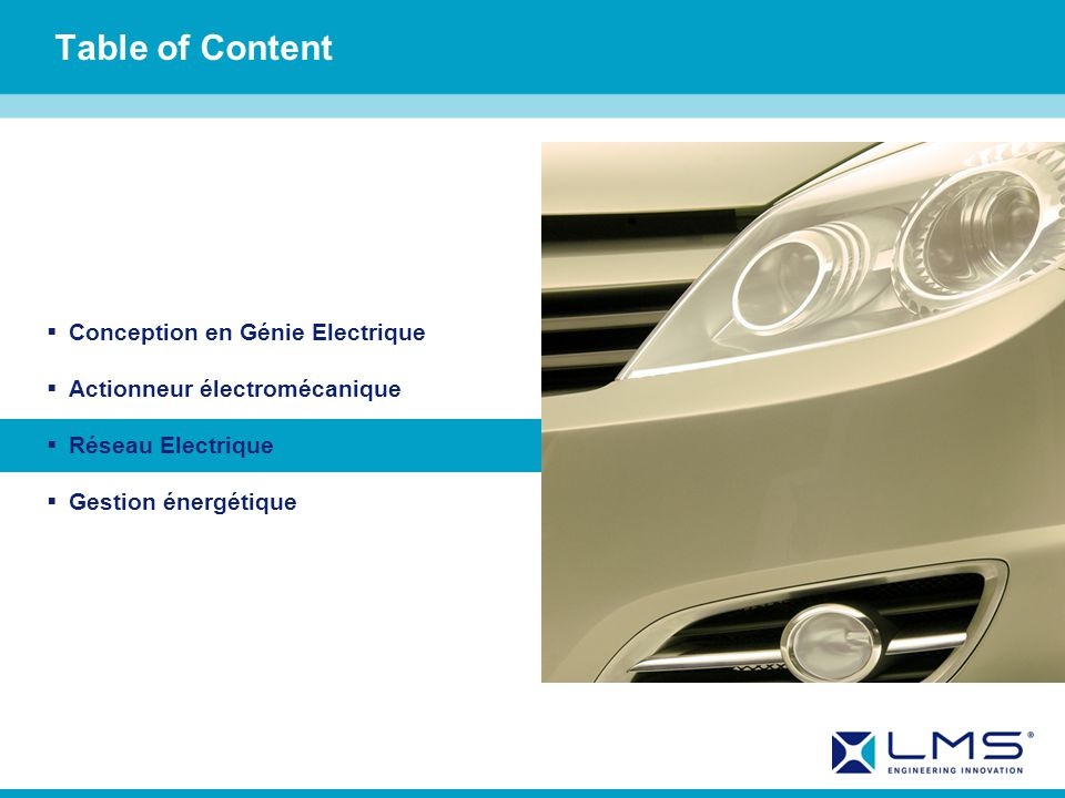 Table of Content Conception en Génie Electrique