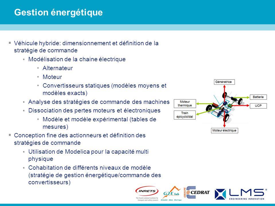 Gestion énergétique Véhicule hybride: dimensionnement et définition de la stratégie de commande. Modélisation de la chaine électrique.
